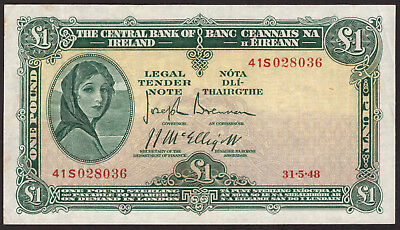 Central Bank of Ireland One Pound 1948. Good Very Fine