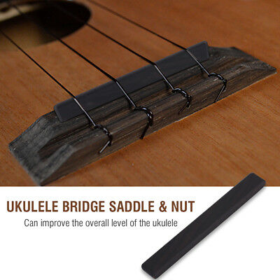 Black Ebony Ukulele Bridge Saddle & Nut 4 Slots with Sleek for 4-String Ukuleles