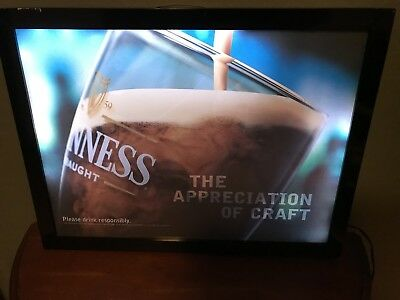 "Guinness Draught ""The appreciation of Craft""Light-up beer bar pub sign man cave"