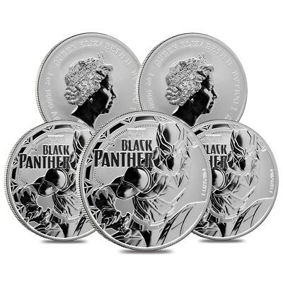 Lot of 5 - 2018 1 oz Tuvalu Black Panther Marvel Series Silver Coin BU In Cap
