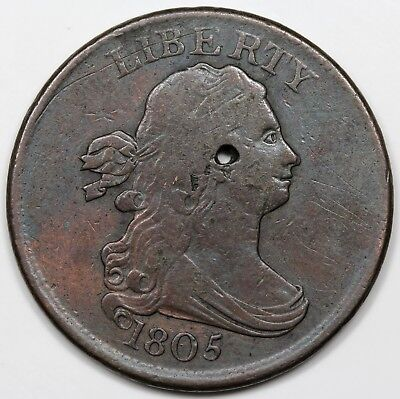 1805 Draped Bust Half Cent, Small 5, Stemless, VF detail