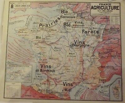 Map of Geography Vidal 33 x 27 cm France Agriculture Wines of Burgundy Midi Bord