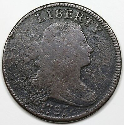 1797 Draped Bust Large Cent, Reverse of '96, Gripped Edge, VG detail