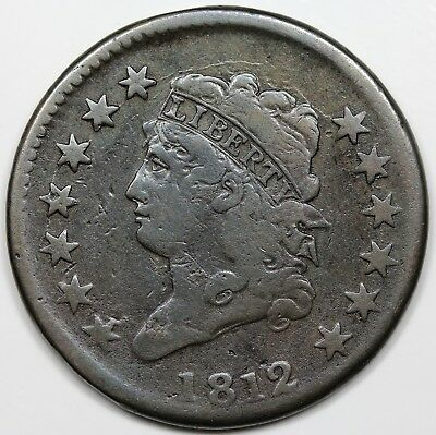 1812 Classic Head Large Cent, Large Date, F detail