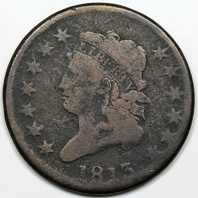 1813 Classic Head Large Cent, VG detail