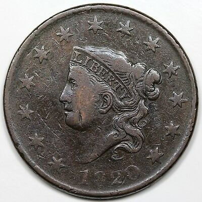 1820 Coronet Head Large Cent, Large Date, VF detail