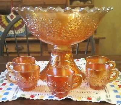 Fenton ORANGE TREE Marigold 10 inch Punch Bowl, Base, & 5 Cups