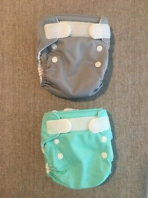 Thirsties Natural All in One newborn grey and aqua