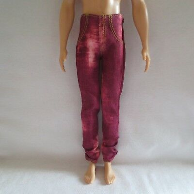 NEW 2017 Barbie Fashionista Ken Doll Maroon Red Denim Pants ~ Clothing Jeans