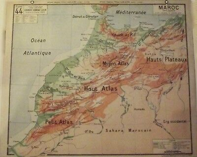 Map of Geography Vidal 33 x 27 cm Morocco Atlas Rif Channel Gibraltar Ocean