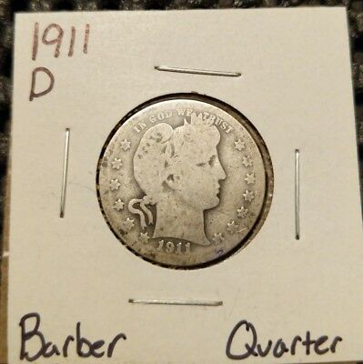 1911-D Barber Quarter! 90% Silver! Free Shipping!