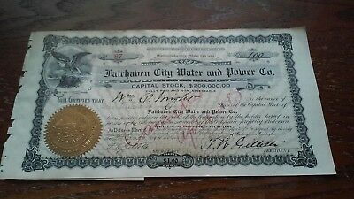 Old stock certificate 1905 Fairhaven City Water Power Washington Territory