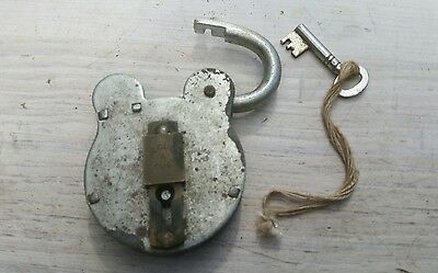 Vintage Steel & Brass Padlock Lock with Key Iron Old Lever