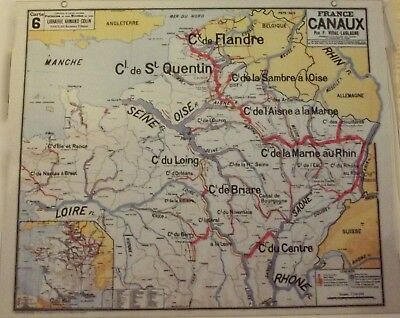 Map of Geography Vidal 33 x 27 cm France Canals Flanders Marne Loire Saone