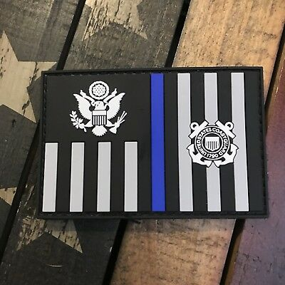 Thin Blue Line Subdued Coast Guard Ensign Flag PVC Patch