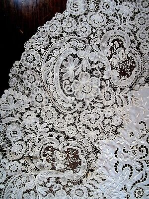 "19th C. round Brussels lace tablecloth 37"" across color ivory"