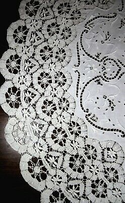 Antique French linen cluny lace round tablecloth 32""