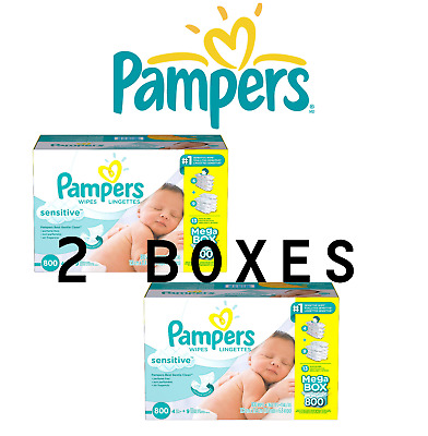 2 X Pampers Sensitive Bulk Baby Wipe Refill 800ct Wipes 2 BRAND NEW BOXES 1600ct