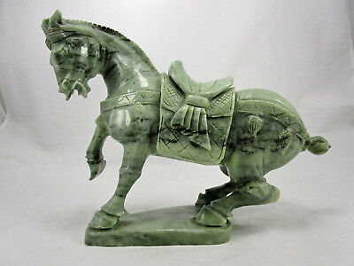 Antique Vintage Green Jade Carved Stone Chinese Tang War Horse Statue Figure