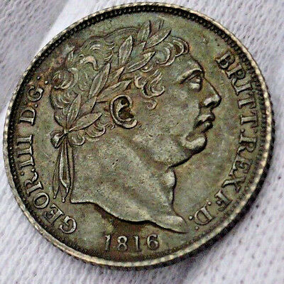 AU Great Britain silver 6 Pence/sixpence, 1816. Spink # 3791