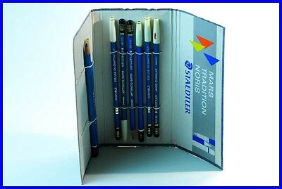 "1960 STAEDTLER ""Mars Tradition Noris"" Mappe mit 8 Bleistiften / various pencils"