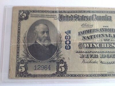 1902 1921 $5 Five Dollar Currency Farmers National Bank Note Winchester Virginia