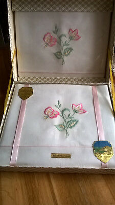 Vintage Irish linen pillow case and bolster set boxed