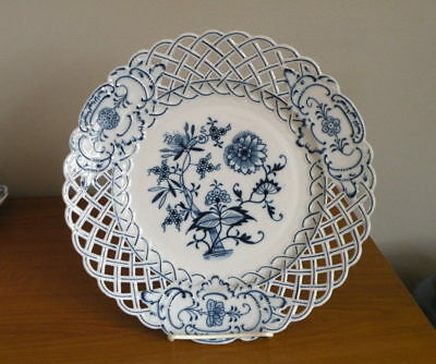 "Meissen Blue Onion Reticulated Pierced 11.5"" Plate Ernst Teichert Mark Excellent"