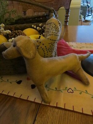 Vintage Primitive Folk Art Hand Made Grungy Fabric Dachshund Dog