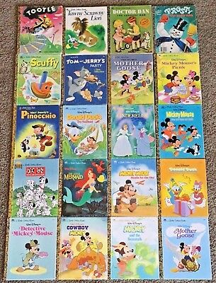 Mixed Lot of 20 Hardcover Little Golden Books Most Disney Some from 1950s -1019C