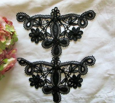 Antique Pair Of Hand Sewn Black Soutache~Lace~Tulle~Appliques~Motifs~Dress Trims