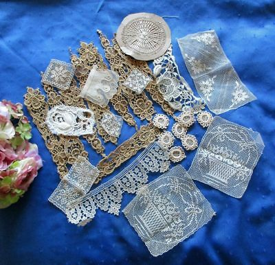 Large Antique Lot Of Lace Dress Trims/motifs/appliques~Filet~Schiffli+~27 Pieces