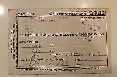 Vintage 1920 Pacific Gas & Electric Company Bill For A House in Sebastopol Ca.
