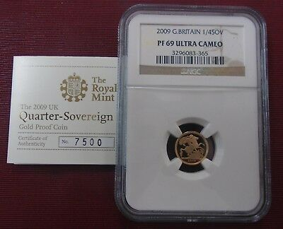 2009 GREAT BRITAIN 1/4 SOVEREIGN GOLD COIN - NGC PF 69 ULTRA CAMEO w/ CERT