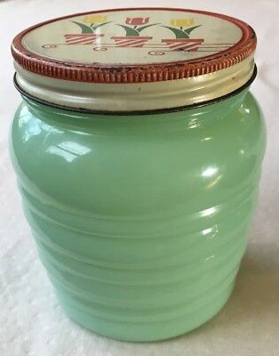 Vintage Anchor Hocking Fire King Jadeite Grease Jar with Tulip Pattern Lid