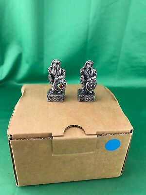 """LOT OF 2 - THE MAGIC CRYSTAL CHESS SET  GORHAM - 2"""" Pewter """"DWARF OF FREEDOM"""""""