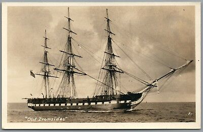 """RPPC - """"OLD IRONSIDES"""" USS Constitution Ship Vintage Real Photo Postcard"""