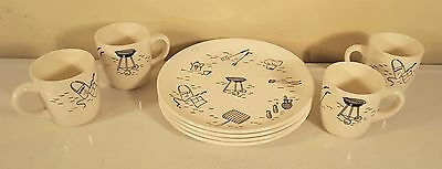 4 Vintage Retro Mid Century 1950's BBQ Picnic Grill Plates And Mugs USA Pottery