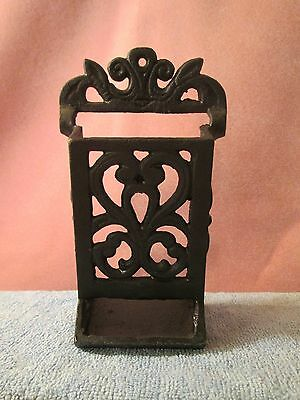 VINTAGE CAST IRON, Wall Mount, Holder for Wooden Matches Black Fire Place Decor