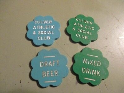 -4 -  bar drinks tokens from Pa Clover atheltic & social club