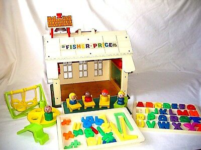 Vintage Fisher Price School House with Masonite Base
