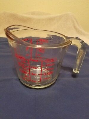 Anchor Hocking Red Letter 2 Cup Measuring Cup Open Handle Excellent #698