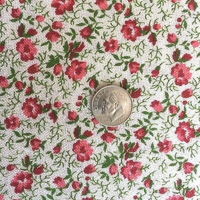 "Vintage Half+ Feed/Flour Sack Tiny Red and Pink Floral Print 42"" x 23"""