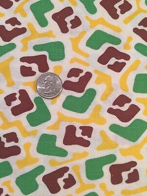 "Vintage Full Feed/Flour Sack Yellow, Green, Brown, White Geo  44"" x 35"""