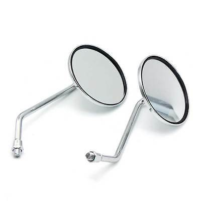 Pair Motorcycle Rear View Rearview Side Round Mirrors Universal 10mm For Yamaha