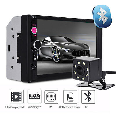 "7"" 2 DIN Car Multimedia Radio MP5 Player Bluetooth HD Rear View Camera Receiver"
