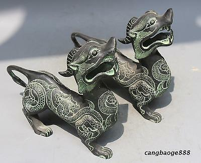 Old China Bronze carved Feng Shui Foo Dogs Lions pair monster sculpture Statues.