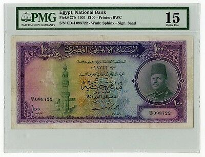 Rare-Egypt-Paper money-100 Pounds-King Farouk-Certified-Choice Fine-1951-By Saad