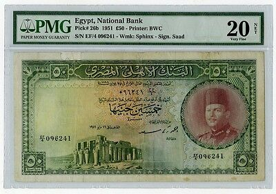 Rare-Egypt paper money-50 Pounds-King Farouk-Certified-Very fine-1951-by Saad