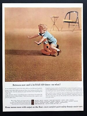 1956 Vintage Print Ad CARPET INSTITUTE Kid Tripping Over Stuffed Animal Home